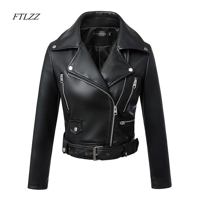 Women Autumn Winter Black Faux Leather Jackets Zipper Basic Coat Turn-down Collar Motor Biker Jacket With Belt 1