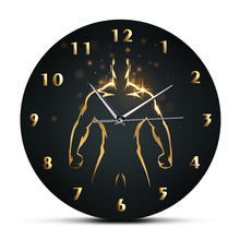 Clock Wall-Watch Body-Building Living-Room-Decor Fitness GYM Training Quiet Cave Sweep
