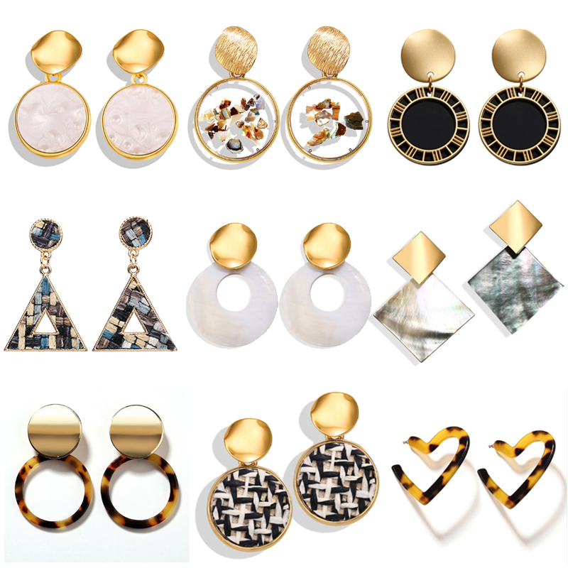 17KM Korean Earrings Geometric Fashion-Jewelry Heart-Gold Bohemian Wholesale Women New