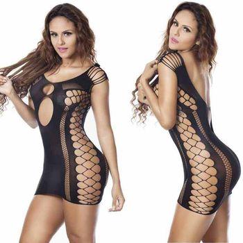 Lady Women's Sexy/Sissy Fish Net Sheer lingerie Skirt Sleepwear Nightwear Babydoll Dress G-string