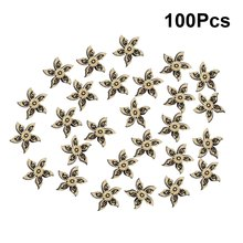 100pcs Wooden Crafts Handmade Five Petaled Flowers Decorative Accessories DIY Wooden Ornament for Scrapbooking Sewing Clothes(China)