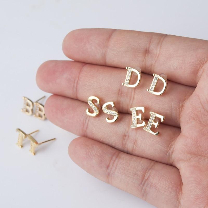 DoreenBeads новые модные ювелирные изделия 26 букв алфавита мозаика золотого цвета стразы серьги-гвоздики для женщин девушек ювелирные изделия 1 ...