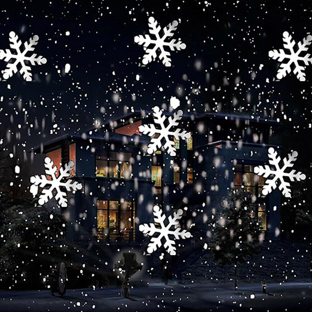 ZUCZUG Weihnachten Schneeflocke Laser Licht Schneefall Projektor Moving Schnee Garten Laser Projektor Lampe Für Neue Jahr Party decor