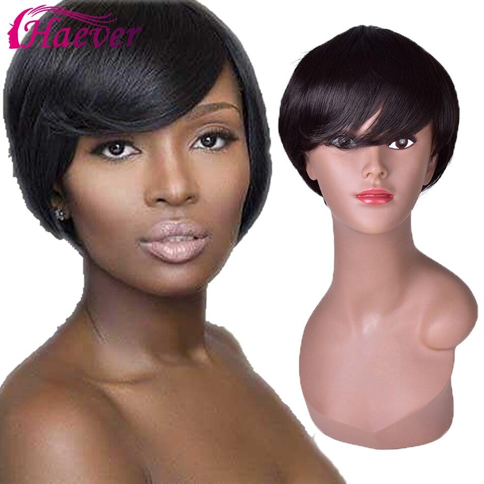 Haever Brazilian Straight Human Hair Wigs For Women Natural Color Short Bob Human Hair Machine Made Wigs