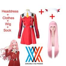 Querida no franxx code002 cosplay completo traje saia inclui preto meias peruca cocar roupas de halloween para mulher