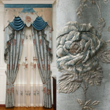 Europe blue luxury Royal 4D embossed full blackout curtains for living room curtain bedroom kitchen decorative