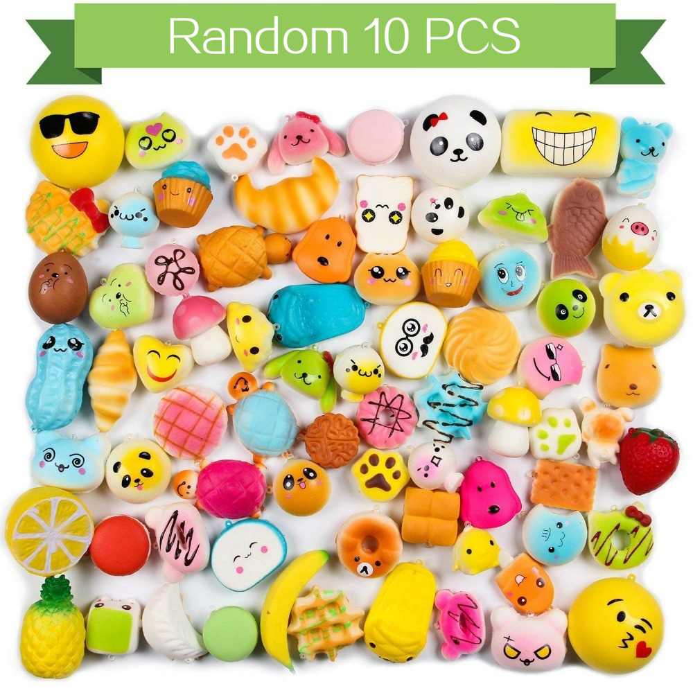 10Pcs/Set Kawaii Squishy Slow Rising Bread Cake Donut Food Animal Toys For Children Squeeze Lanyard For Keys Groot Phone Strap