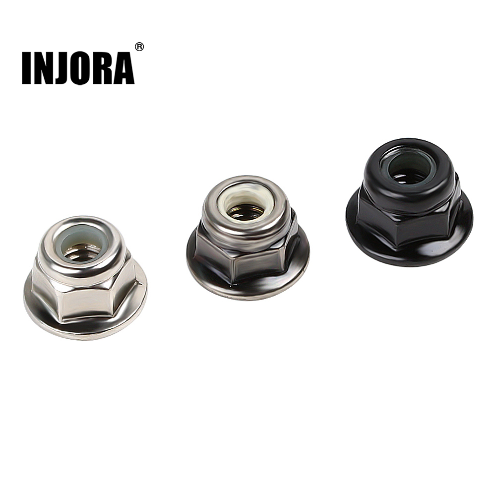 INJORA 10PCS Metal 4mm M4 Wheel Lock Nuts For 1/10 RC Car Crawler Traxxas TRX4 TRX6 Axial SCX10 90046 AXI03007 Redcat MST