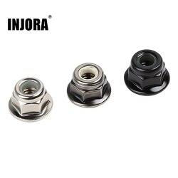 INJORA 10PCS Metal 4mm M4 Wheel Lock Nuts for 1/10 RC Car Crawler Traxxas TRX4 TRX6 Axial SCX10 90046 AXI03007 Redcat MST