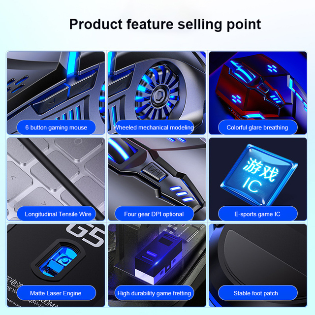 Gaming Mouse Wired Mouse 6D 4-Speed DPI RGB Gaming Mouse For PUBG Computer Laptop 7 Color Breathing Backlight Mouse Gaming Mice 6