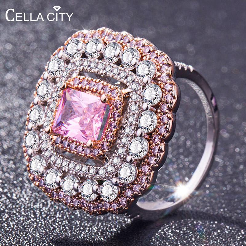 Cellacity Luxury Silver 925 Jewelry Geometry Design Ring For Women Gemstones Pink Crystal Temperament Elegant Banquet Party