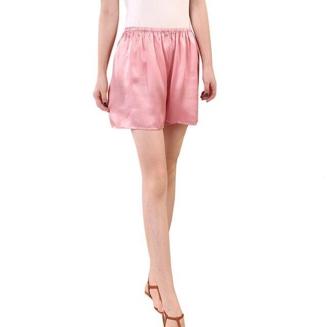 SuyaDream Woman Silk Shorts 19mm 100%Silk Satin Comfortable Healthy Elastic Waist Home Shorts 2021 Spring Summer Solid Short 2