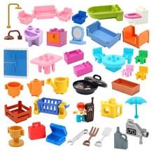 Casa de juego edificio grande bloques accesorios de muebles utensilios de silla de mesa Compatible Duplo Sets ladrillos ensamblar juguetes para los niños