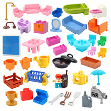 Play House Big Building Blocks Furniture Accessories Utensil Table Chair Compatible Sets bricks Assemble Toys For Children Gifts