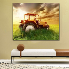 Laeacco Farmland Tractor Posters Prints Sunrise Wall Art Canvas Calligraphy Painting Home Decoration Living Room Decor