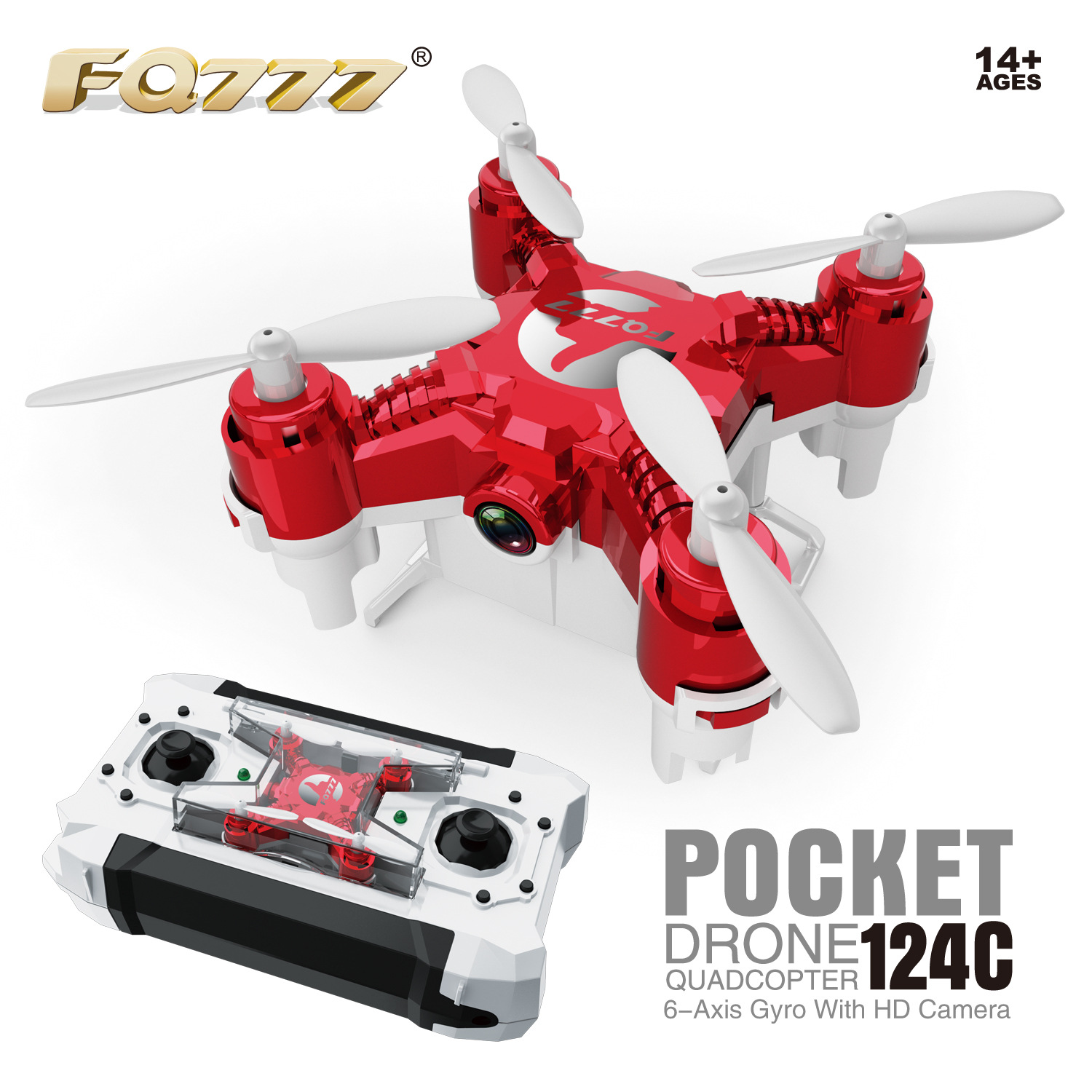Fq777-124c Unmanned Aerial Vehicle Mini Portable Aerial Photography Pocket Aircraft Telecontrolled Toy Aircraft