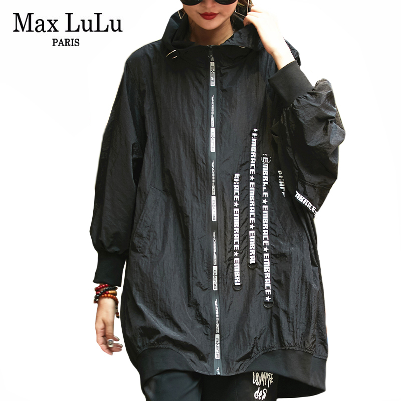 Max LuLu Autumn 2019 Fashion Korean Style Windbreaker Ladies Punk Clothes Womens Zipper Printed Long   Trench   Vintage Hooded Coats