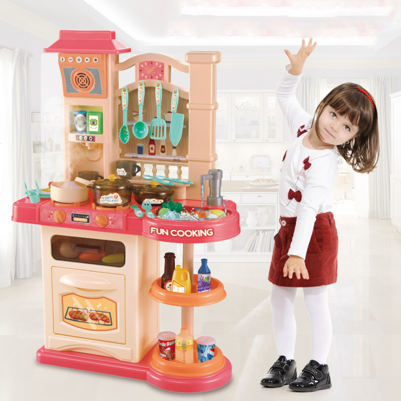 Infant Shining 40pcs Kitchen Toys Set Girls Toy Kitchenware Simulation Cooking Toy Set 76CM/30IN Parent-child Kids Kitchen Gift