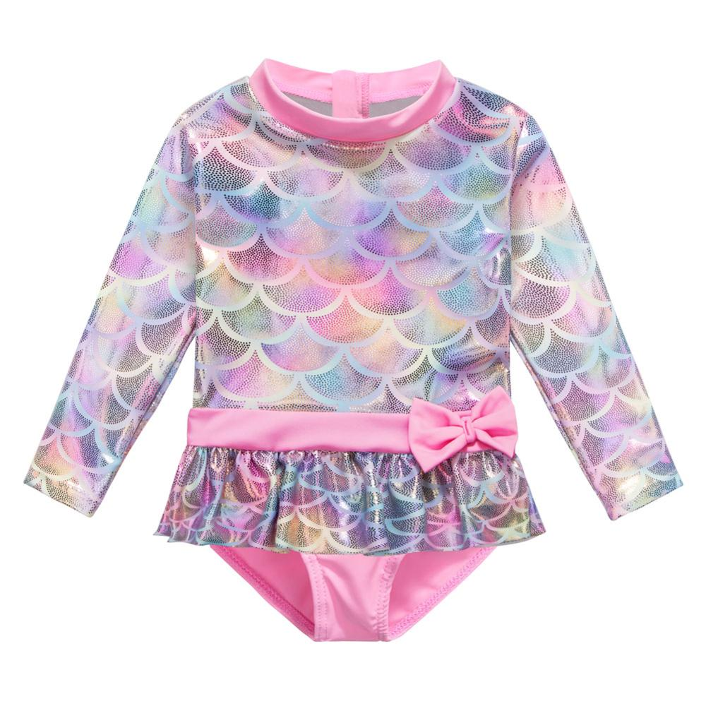 BAOHULU Shiny Baby Swimwear Long Sleeves Infant Swimsuit One Piece Toddler Baby Bathing Suits For Girls Fish Scale Pattern