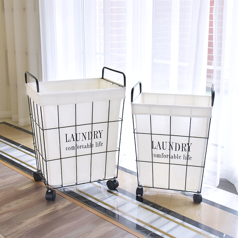 Laundry basket wrought iron Large hamper Dirty clothes storage basket Portable home toys clothing storage organizers mx9201411