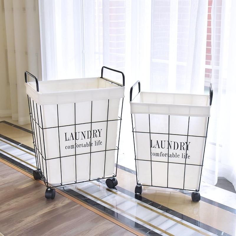 Laundry Basket Wrought Iron Large Hamper Dirty Clothes Storage Basket Portable Home Toys Clothing Storage Organizers Mx9201411