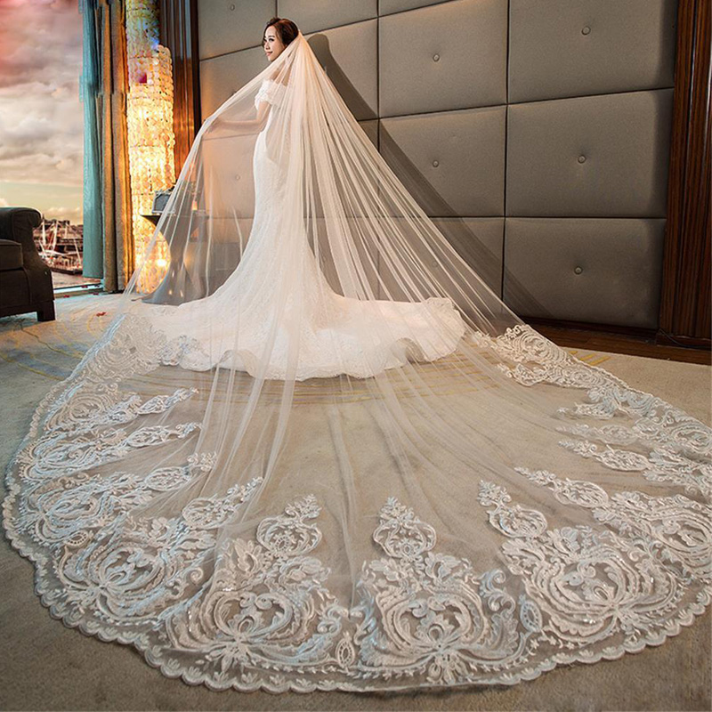Bridal-Veil-Accessories Lace-Trim Wedding-Veils Sequined Tulle Long-Cathedral Comb Soft