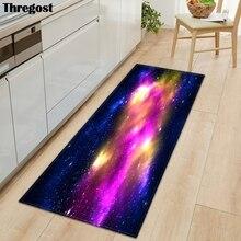 Thregost Planet Printed Long Floor Mats Microfiber Flannel Kitchen Carpet 3D Muslim Prayer Mat Doormat Outdoor Living Room Rug