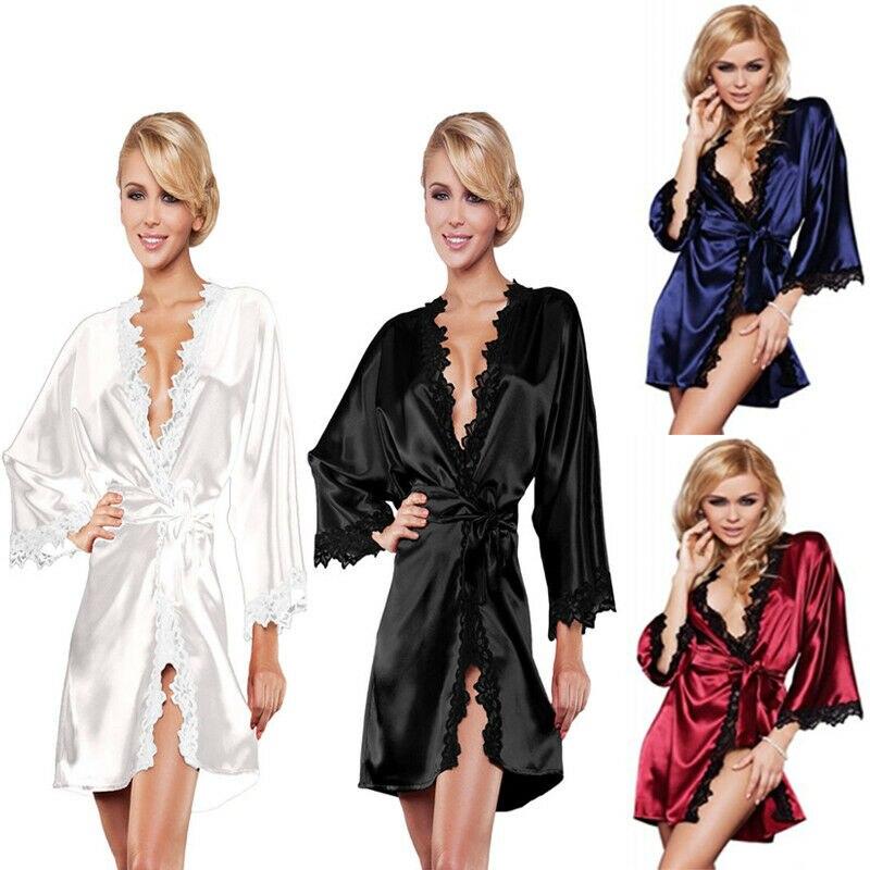 Sexy Women Bride Luxury Nightdress V Neck Satin Silk Lace Kimono Robe Satin Silk Night Dressing Gown With Belt