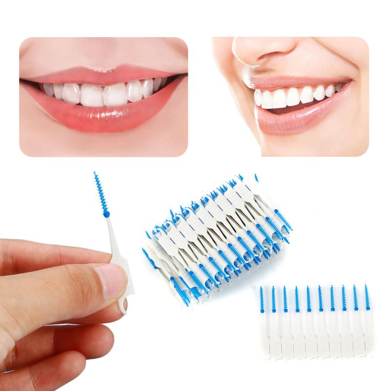 120pcs Soft Plastic Double-head Interdental Brushes Toothpick Oral Care Tool Floss Toothpick Cleaner Teeth Care Floss Pick TSLM1
