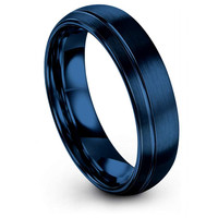 6mm Edelstahl Schmuck Blau Nut Arc Förmigen Dame Ring Mode Kreative Schmuck Zubehör