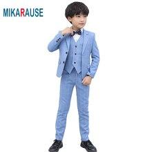 Mikarause Kids Boys Blue Plaid Suits Boy High Quality Formal Wedding Tuxedo Dress Blazer Suit Set costume enfant garcon mariage