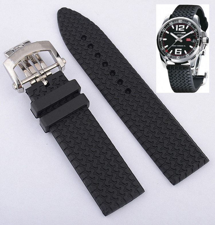23mm Rubber Watchband For Chopard Watch Strap With Stainless Steel Butterfly Buckle Waterproof Bracelet