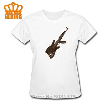 Heavy Metal Style AK 47 Guitar Slim Fit T-Shirt Digital Printing No Fade Summer Cool Coat women Pure Cotton Classic Tshirt image