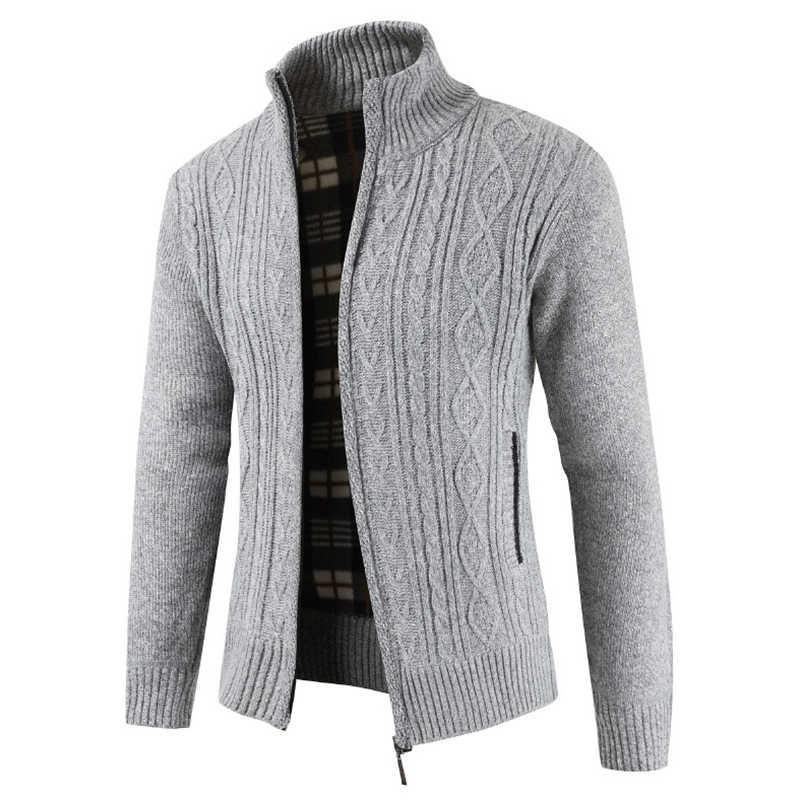 ブランド新ファッション厚手のセーター男性カーディガンコートスリムフィットジャンパーニットジッパー暖かい冬 Sweatercoat 男性セーター服