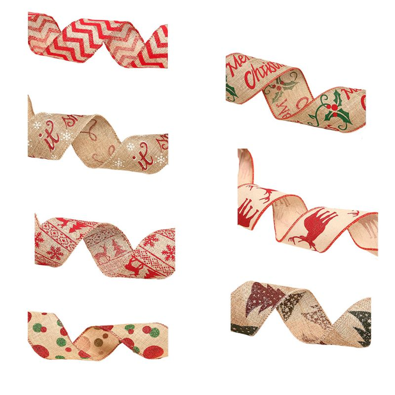 Letters Printing Xmas Ribbon Holiday Baby Shower Party Decor Christmas Tree Ornament Ribbons