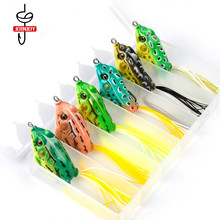13.4g Fishing Lure Frog Bait for Blackfish Soft 6cm 6 Color Set with Box Artificial