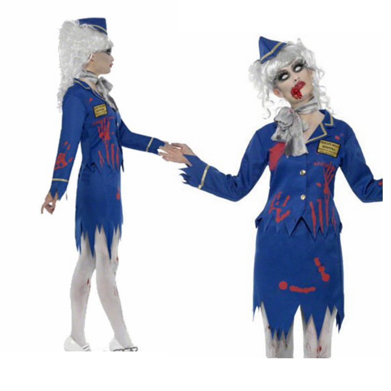 Zombie Stewardess Costumes <font><b>Halloween</b></font> Christmas Cosplay Terror Bloody Mummy <font><b>Sexy</b></font> Slim Uniform High Quality Masquerade Costumes image