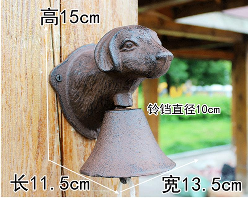 Винтажная чугунная Собачья голова Добро пожаловать обеденный звонок настенное крепление дверной звонок двухсторонний Кантри Металлический висящий колокольчик животный домик ферма - 6