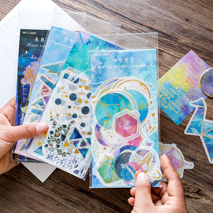 Night Stars Gilding Decorative Washi Stickers Scrapbooking Stick Label Diary Stationery Album Stickers