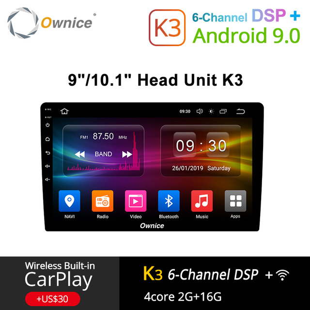 Ownice K3 Android 9.0 รถวิทยุ 2DIN Universal สำหรับ VW Toyota Hyundai Nissan Auto GPS Navi สนับสนุน DSP 4G LTE ด้านหน้าด้านหลังกล้อง