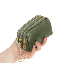 Genuine Leather Women Card Coin Key Holder Change Pouch Purse Mini Pocket Zipper Popular Small Money Bag Wallet High-capacity