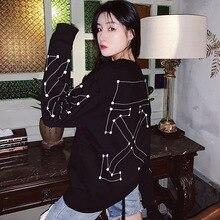 2019 Autumn Black Wardrobe New Constellation Round Collar High Guard Sweatshirt O-Neck Women