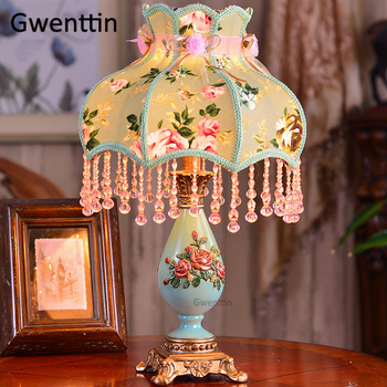 European Luxury Fabric Table Lamps Led Stand Resin Desk Light Fixtures for Bedroom Bedside Lamp Wedding Home Decor Luminaire E27