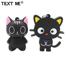TESTO ME cute cartoon gatto nero usb2.0 64GB usb flash drive usb 2.0 4GB 8GB 16GB 32GB pen drive(China)
