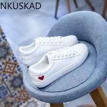 Women Canvas Shoes women casual flats heart lace-up fashion