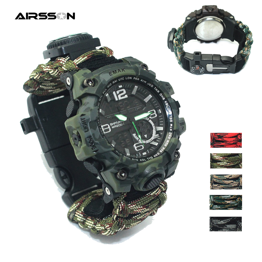 Outdoor Survival Watch Tactical Rescue Paracord Watch Bracelet Medical Multi-functional Compass Thermometer For Camping Hiking