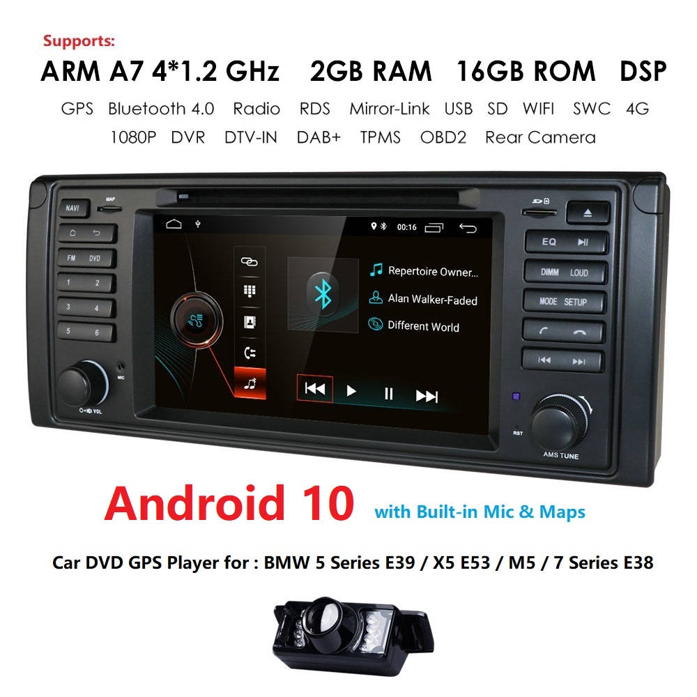 DSP IPS <font><b>Android</b></font> 10.0 Car DVD Player For BMW X5 E53 E39 <font><b>GPS</b></font> Navigation Car Multimedia 7'' Screen 1DIN RDS WIFI 4G SWC CAMERA DAB+ image
