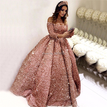 Coral Luxury Boat Neck Ball Gown Evening Dress Sequins Prom Dress Floor Length Formal Robe De Soiree Aibye Middle East Dubai