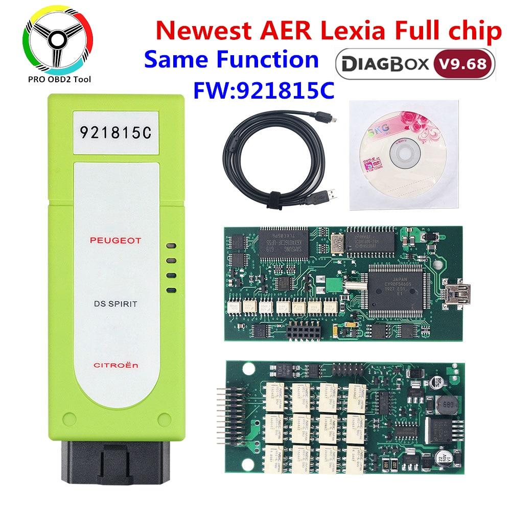 Nova aer lexia 3 diagbox v7.83 921815c firmware completo chip lexia3 obd2 para citroen para peugeot carro ferramenta de diagnóstico lexia 3 v9.68