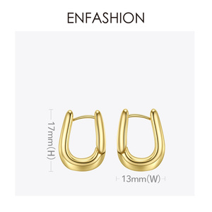 Image 5 - ENFASHION U צורת חישוק עגילי זהב צבע חמוד גיאומטרי קטן מעגל חישוקי עגילי תכשיטים לנשים מתנה Aros E191114